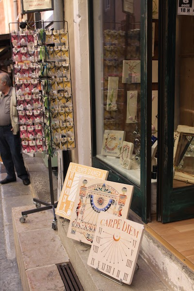 Sundials in a gift shop of Briançon